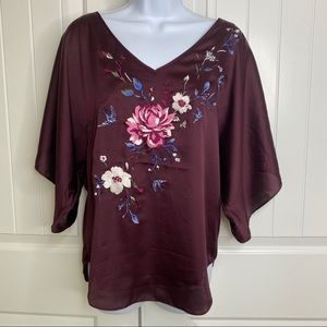 WHBM floral embroidered kimono top size x small